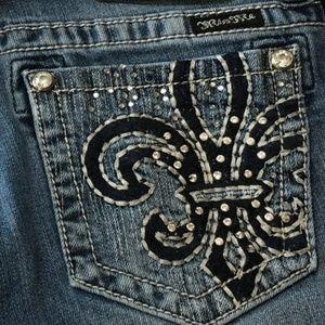 Miss Me Rhinestone Fleur de Lis Jeans 29